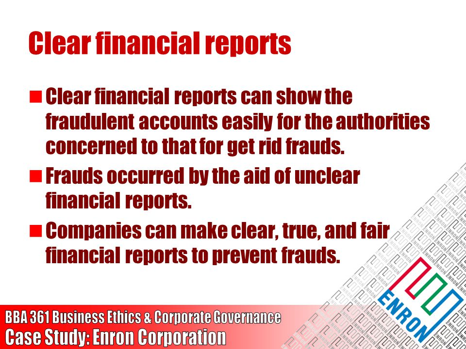Clear financial reports