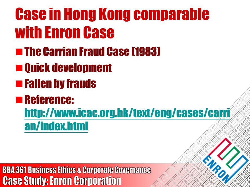 Case in Hong Kong comparable with Enron Case