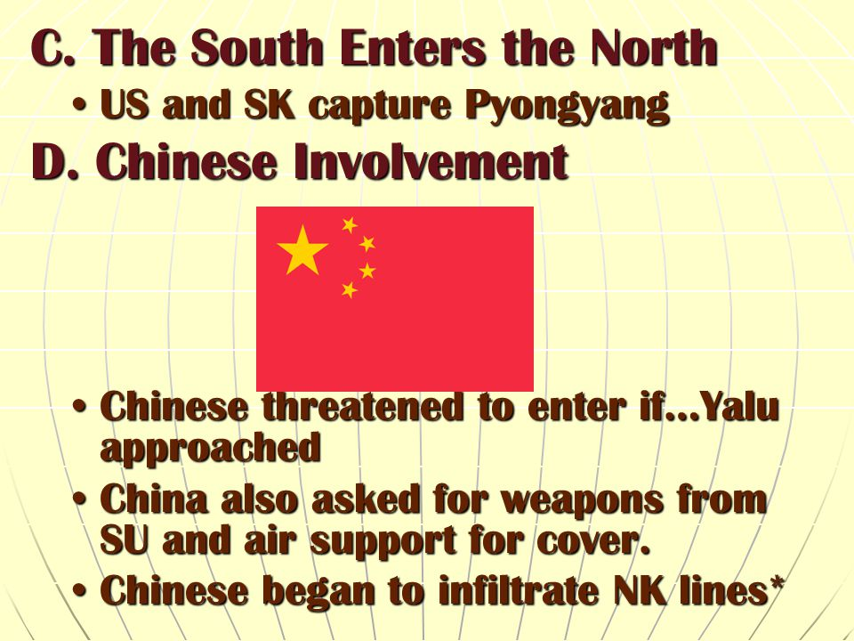 C. The South Enters the North D. Chinese Involvement