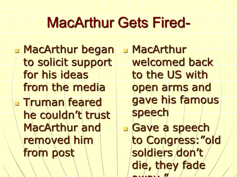 MacArthur Gets Fired- MacArthur began to solicit support for his ideas from the media.