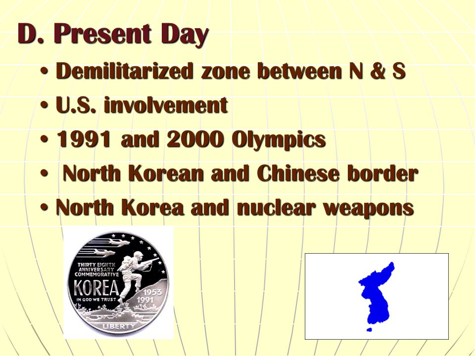 D. Present Day Demilitarized zone between N & S U.S. involvement