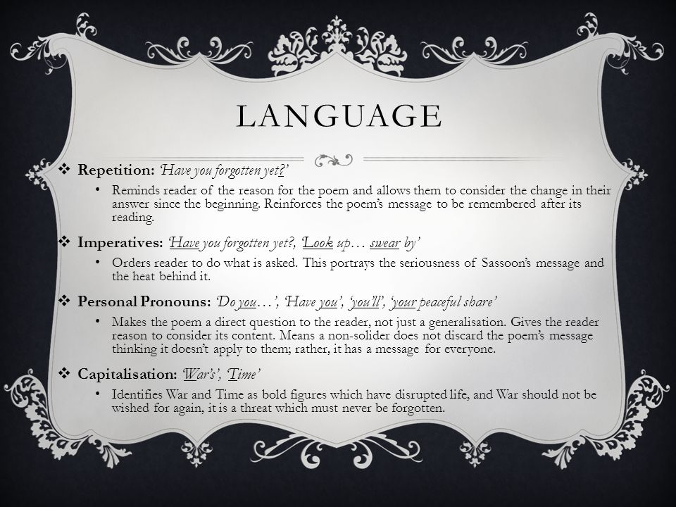 Language Repetition: 'Have you forgotten yet '