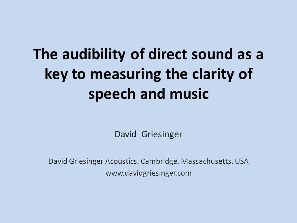 David Griesinger Acoustics, Cambridge, Massachusetts, USA