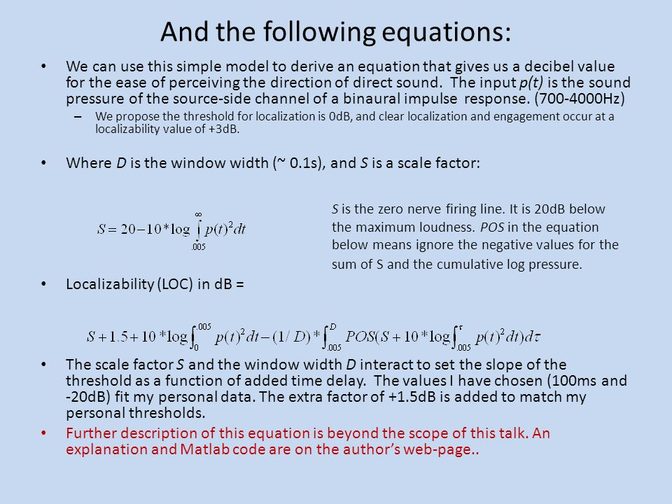 And the following equations: