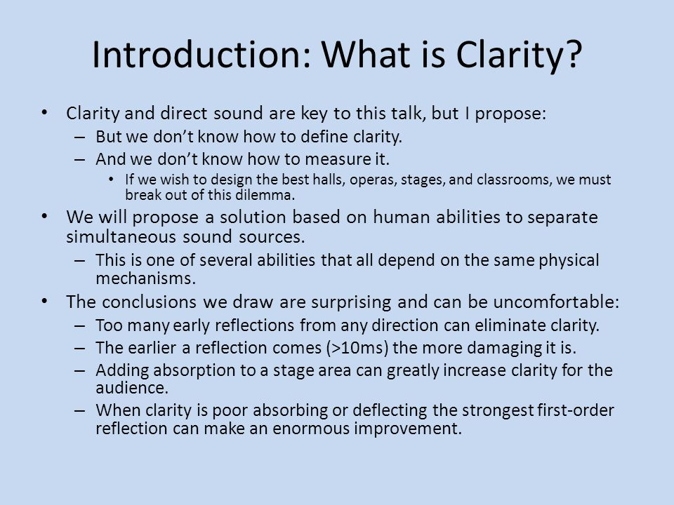 Introduction: What is Clarity