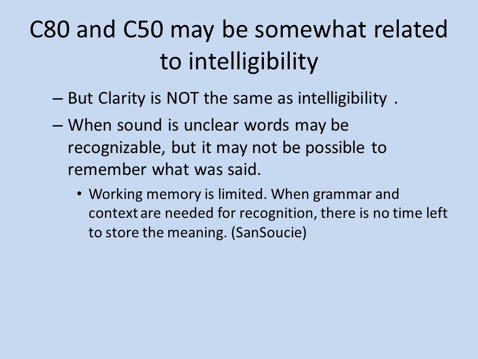 C80 and C50 may be somewhat related to intelligibility