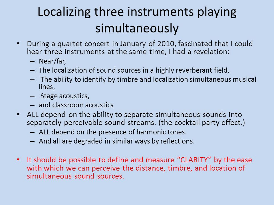 Localizing three instruments playing simultaneously