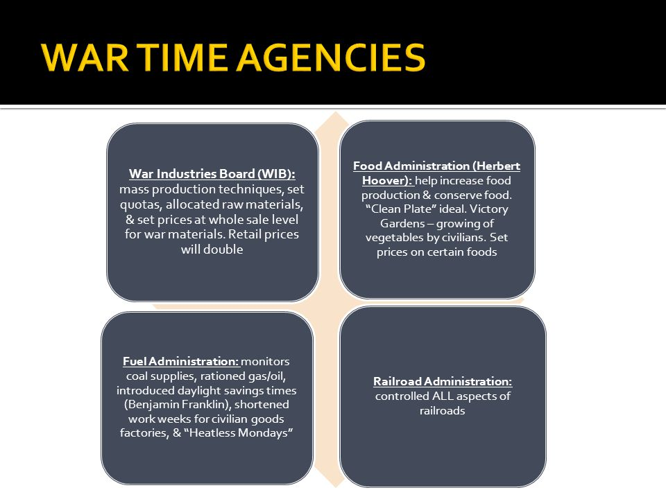 Railroad Administration: controlled ALL aspects of railroads