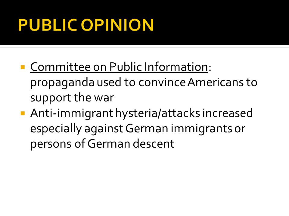 PUBLIC OPINION Committee on Public Information: propaganda used to convince Americans to support the war.