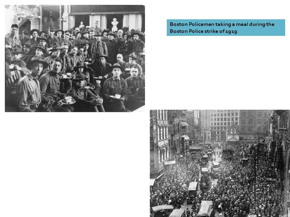 Boston Policemen taking a meal during the Boston Police strike of 1919