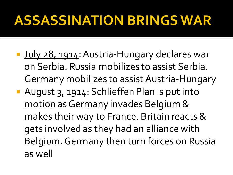 ASSASSINATION BRINGS WAR