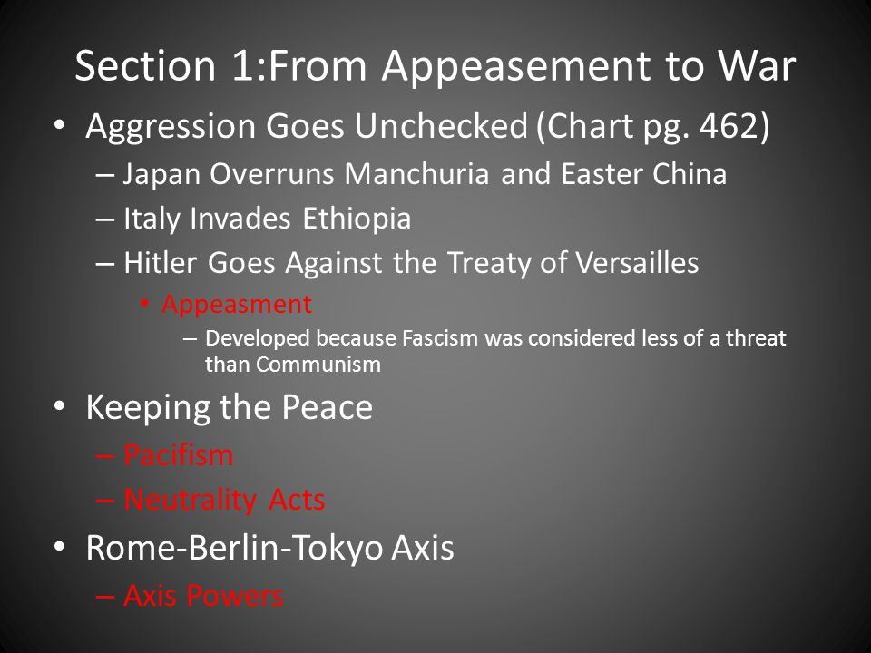 Section 1:From Appeasement to War