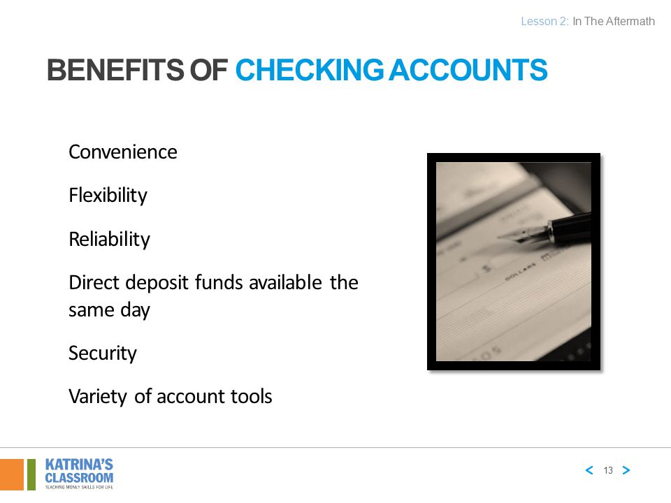 Benefits of Checking Accounts