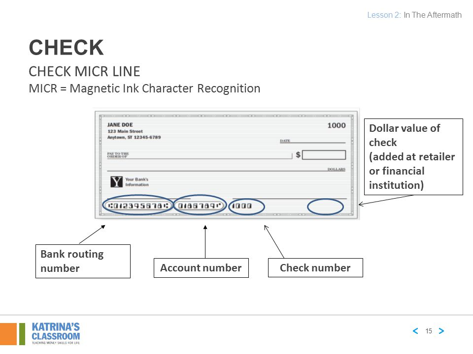 CHECK CHECK MICR LINE MICR = Magnetic Ink Character Recognition