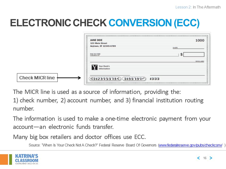 Electronic Check Conversion (ECC)