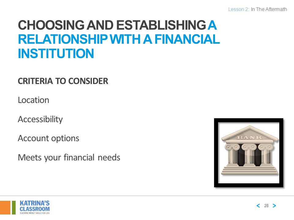 Choosing and Establishing a Relationship with a Financial Institution