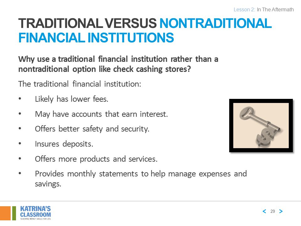 Traditional versus Nontraditional Financial Institutions