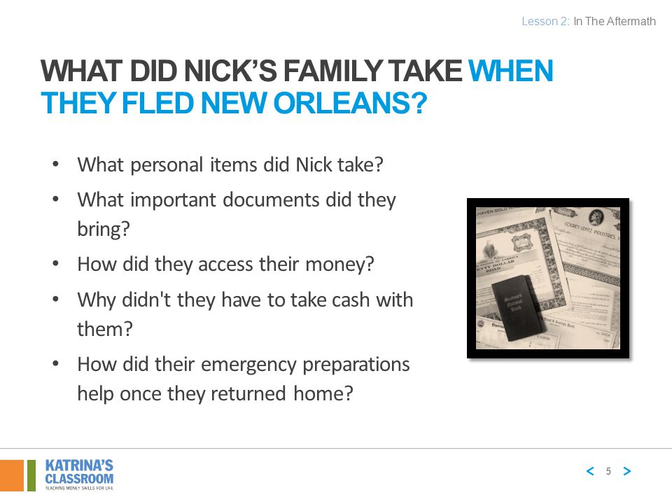 What Did Nick's Family Take When They Fled New Orleans