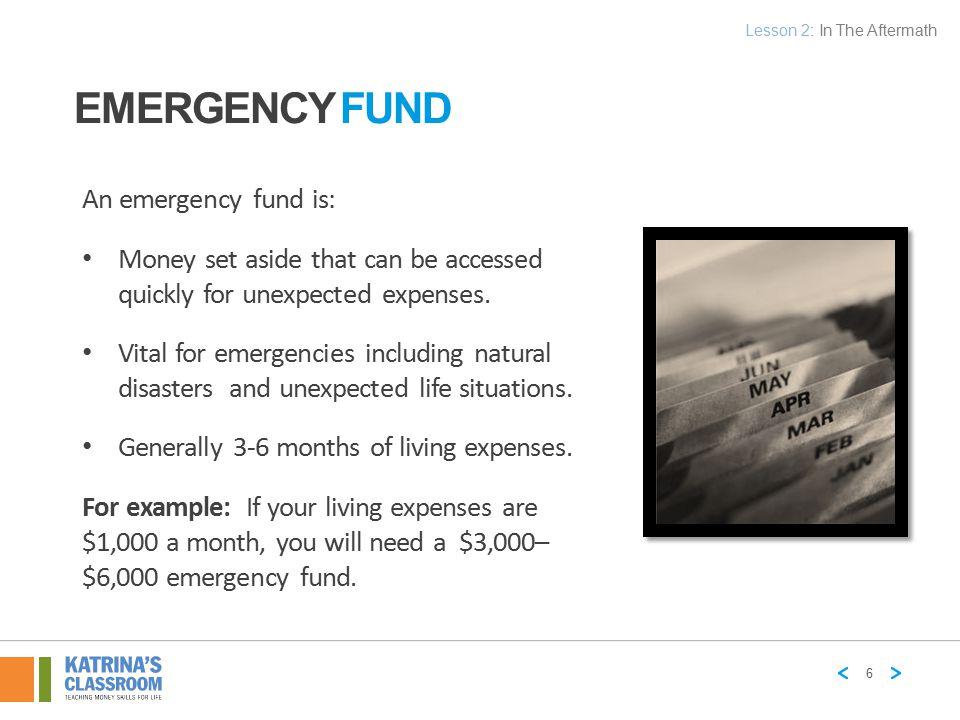 Emergency Fund An emergency fund is: