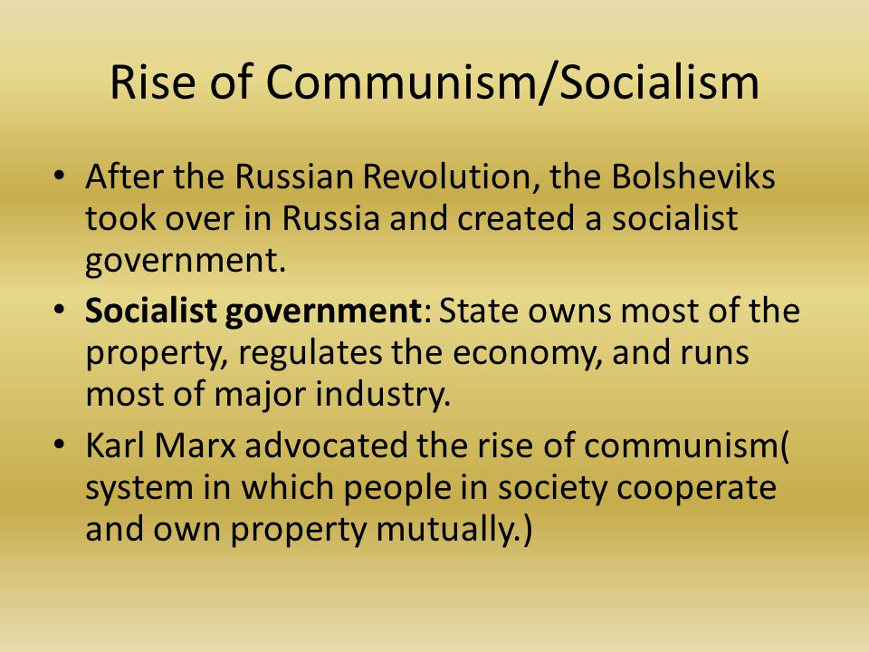 russia and the rise of communism in the country Learn about the world's five communist countries as they stand today backed by russia, korean communist leader kim il-sung was installed as leader of the new nation.