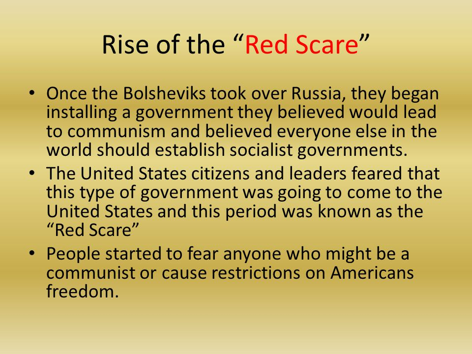 Rise of the Red Scare
