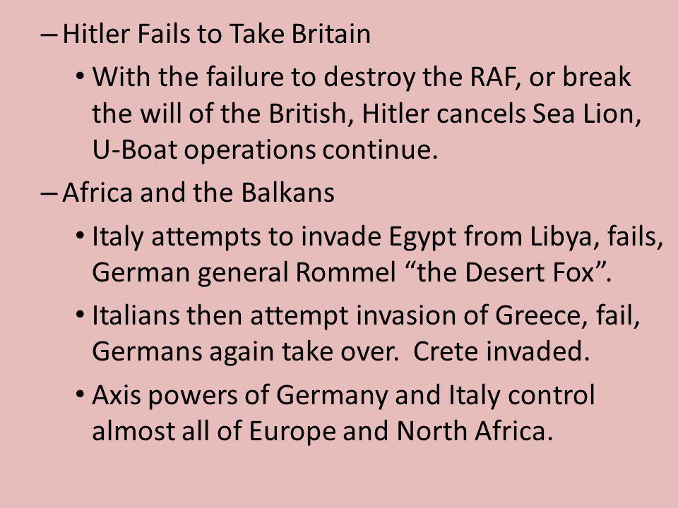 Hitler Fails to Take Britain