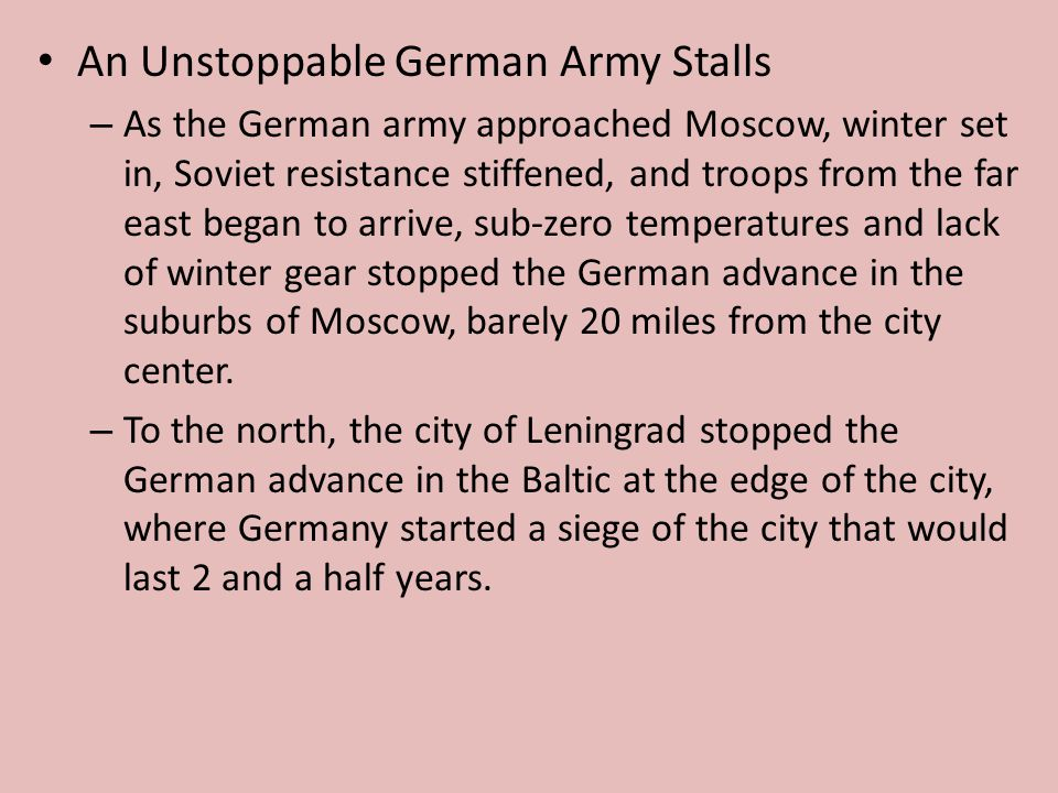 An Unstoppable German Army Stalls