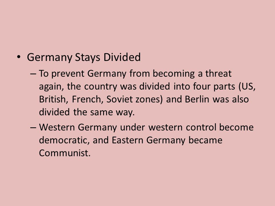 Germany Stays Divided