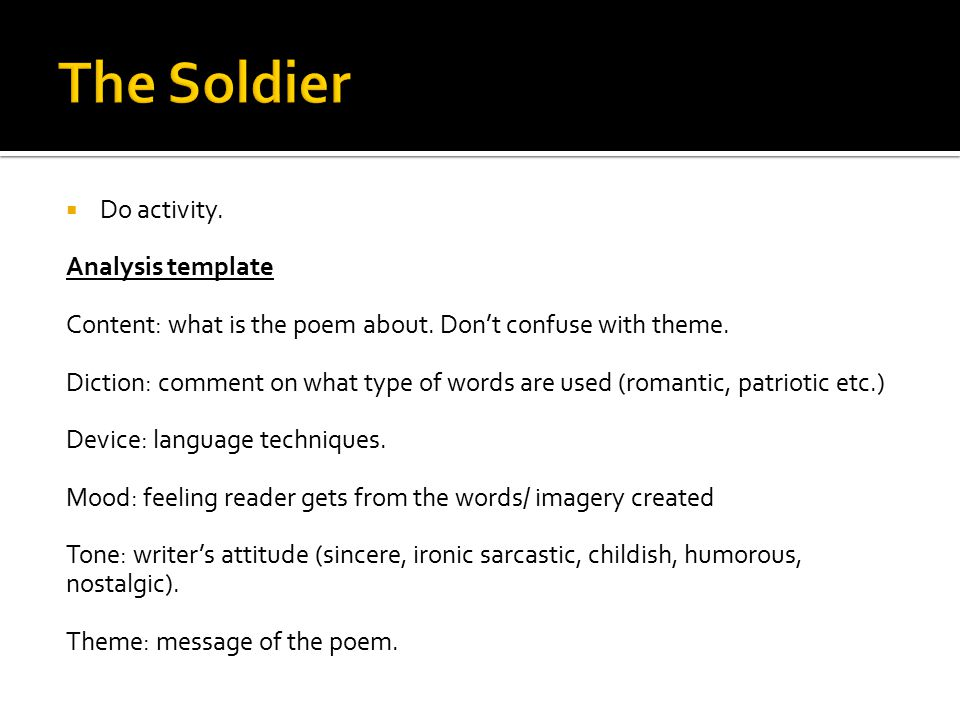 The Soldier Do activity. Analysis template