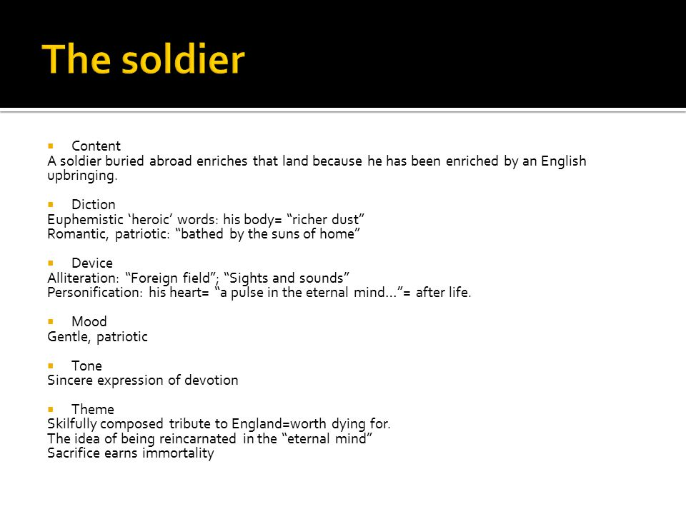The soldier Content. A soldier buried abroad enriches that land because he has been enriched by an English upbringing.