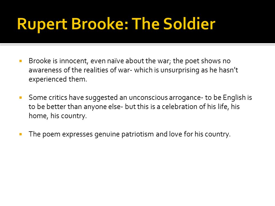Rupert Brooke: The Soldier