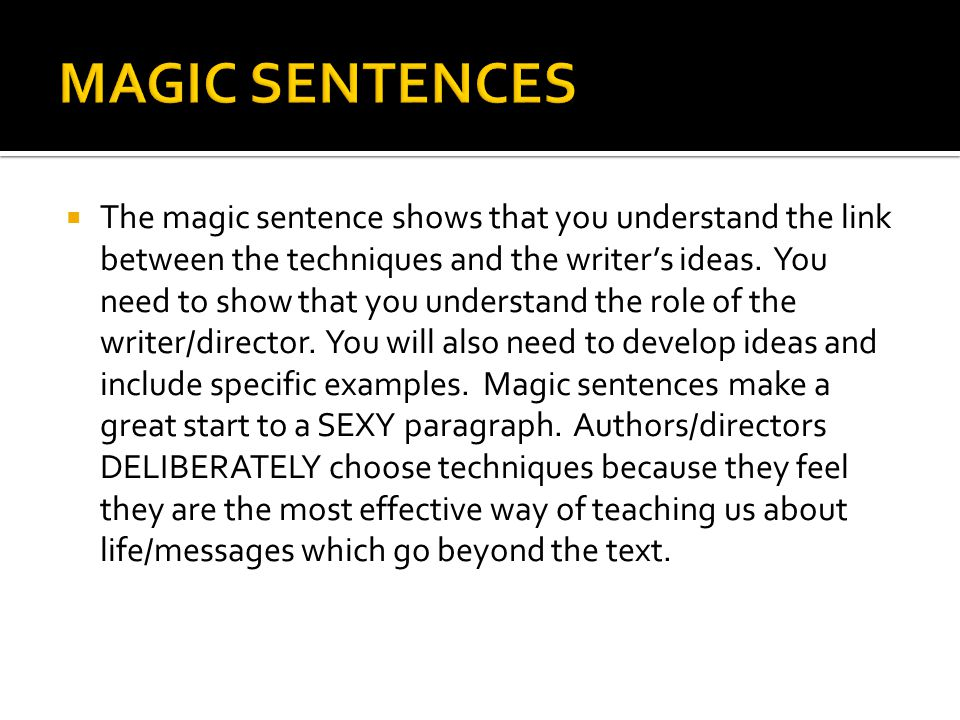 MAGIC SENTENCES