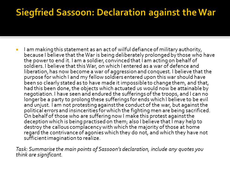 Siegfried Sassoon: Declaration against the War