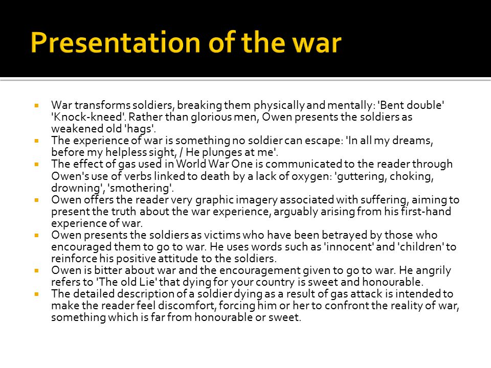 Presentation of the war