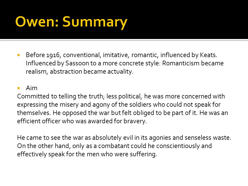 Owen: Summary