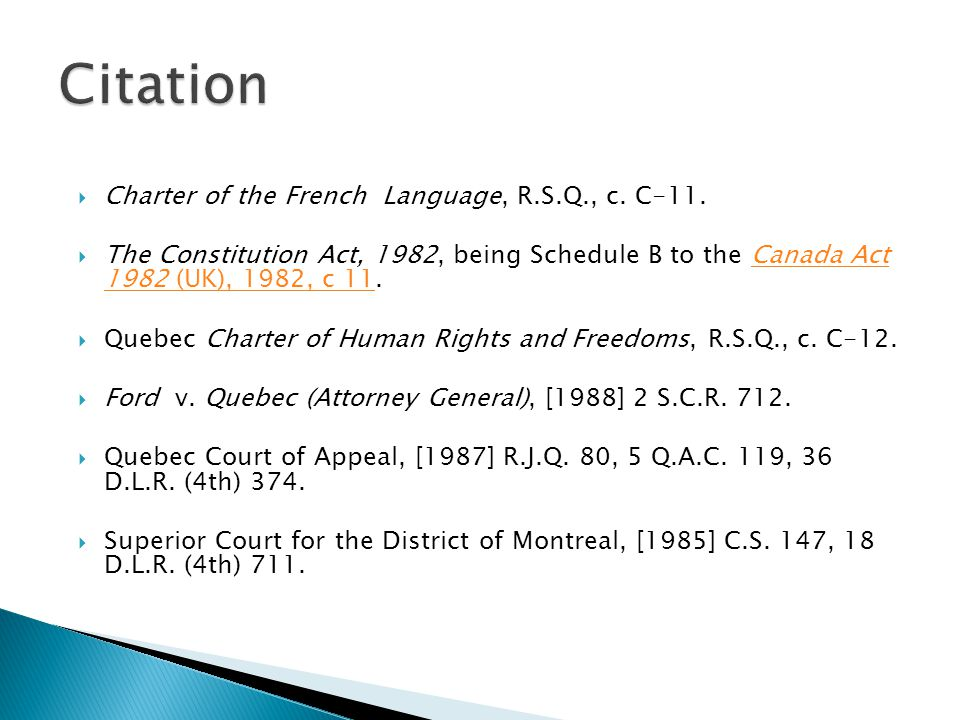 Citation Charter of the French Language, R.S.Q., c. C‑11.