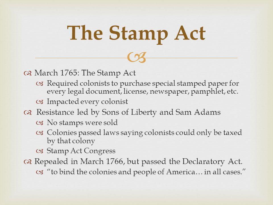 The Stamp Act March 1765: The Stamp Act