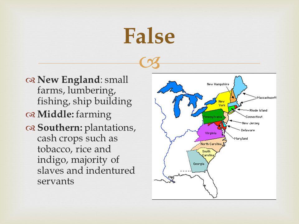 False New England: small farms, lumbering, fishing, ship building