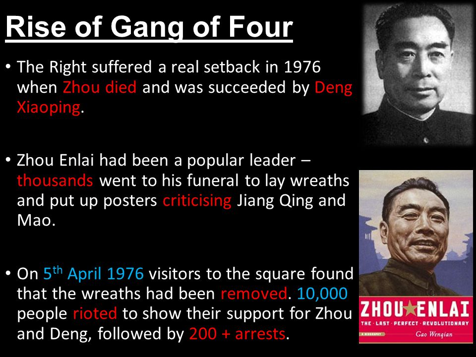 Rise of Gang of Four The Right suffered a real setback in 1976 when Zhou died and was succeeded by Deng Xiaoping.