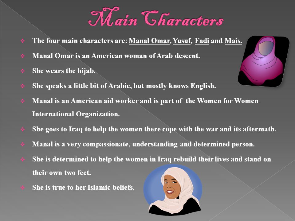 Main Characters The four main characters are: Manal Omar, Yusuf, Fadi and Mais. Manal Omar is an American woman of Arab descent.