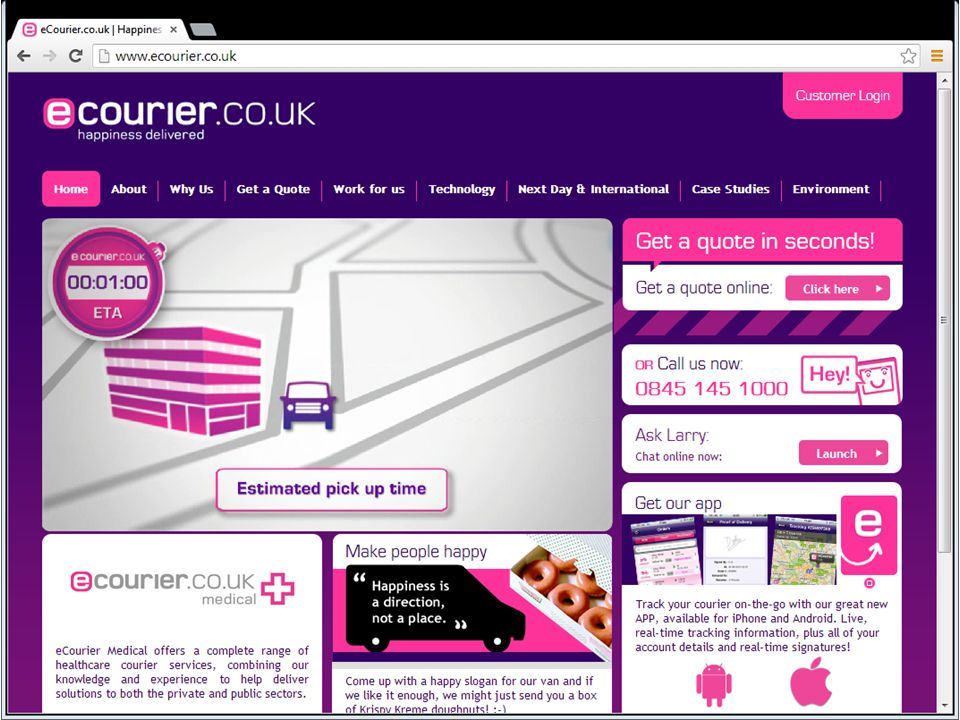 eCourier eCourier are a same day 24/7 courier service based in London, UK.