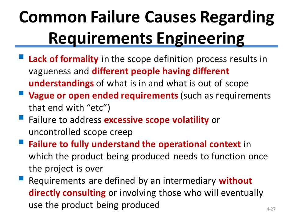 Common Failure Causes Regarding Requirements Engineering (cont.)