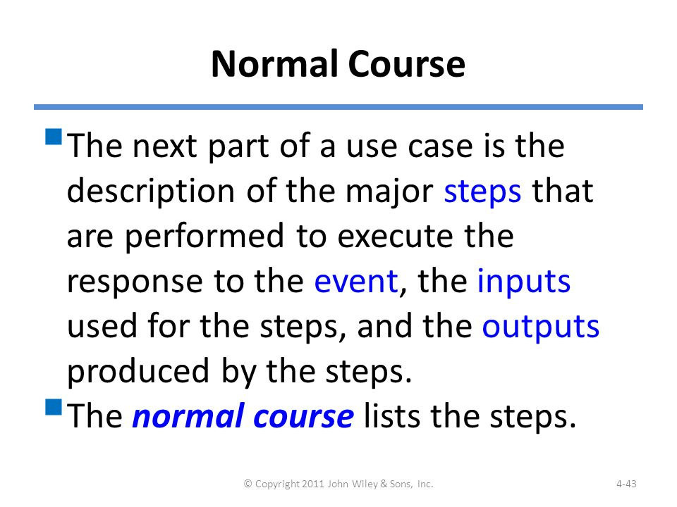 Example: Normal Course