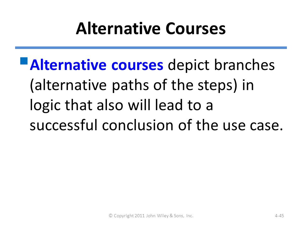Example: Alternative Courses