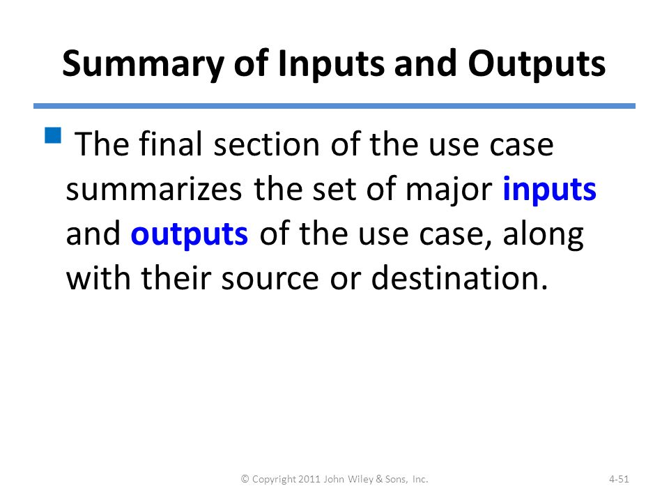 Example: Summary of Inputs & Outputs