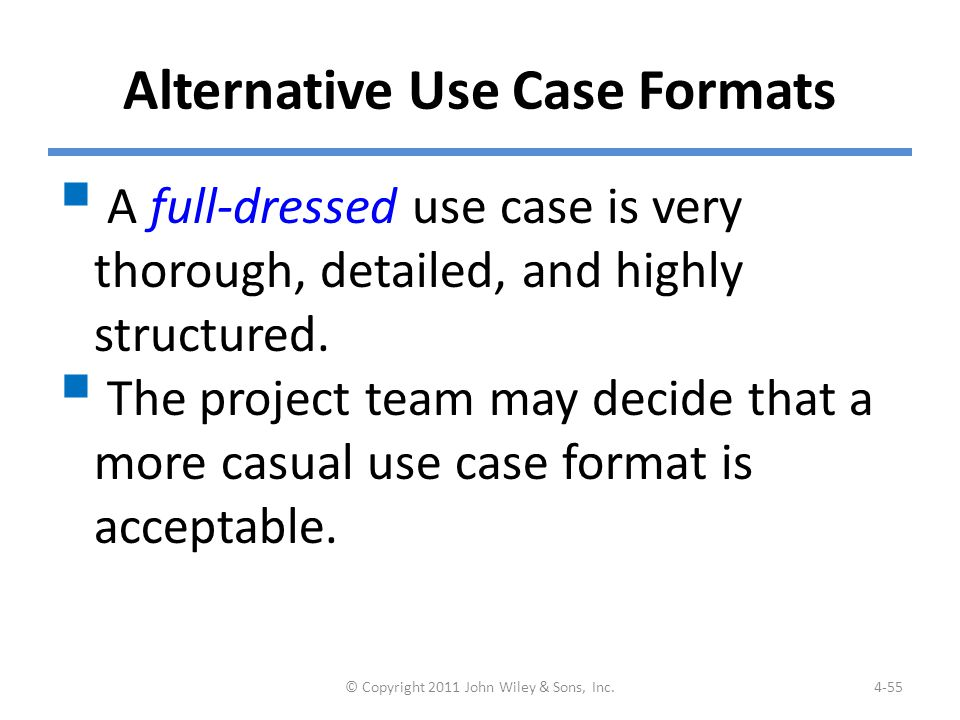 Example: An Alternative Case Format