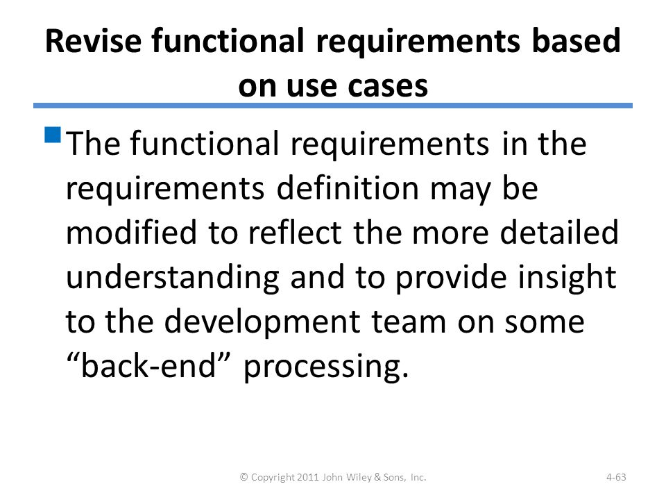 Example: Revising Functional Requirements