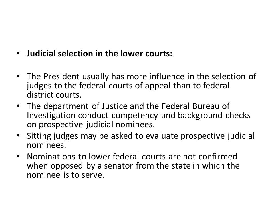 Judicial selection in the lower courts: