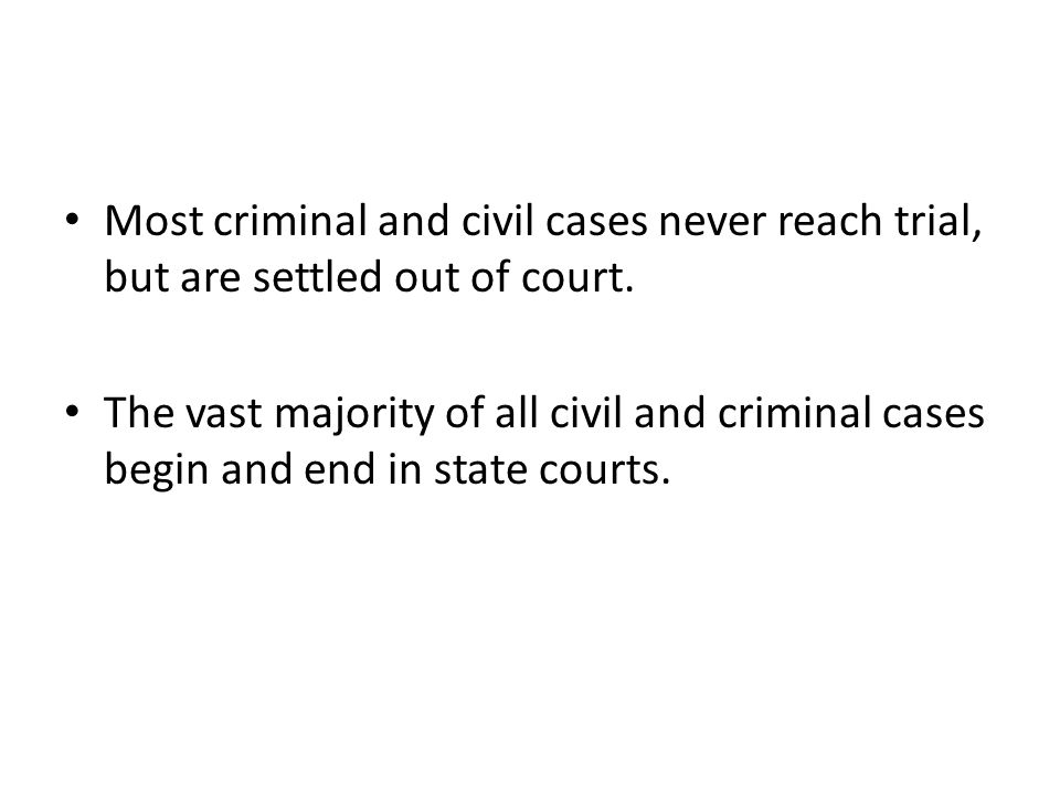 Most criminal and civil cases never reach trial, but are settled out of court.
