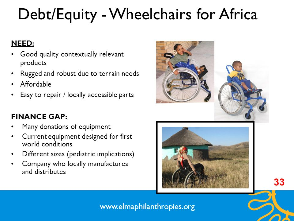 Debt/Equity - Wheelchairs for Africa